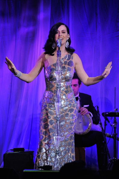 Katy Perry One Shoulder Dress [performance,entertainment,performing arts,music artist,event,performance art,song,stage,singing,public event,katy perry,new york city,wall street,unicef,ninth annual,the ninth annual,cipriani,snowflake ball]