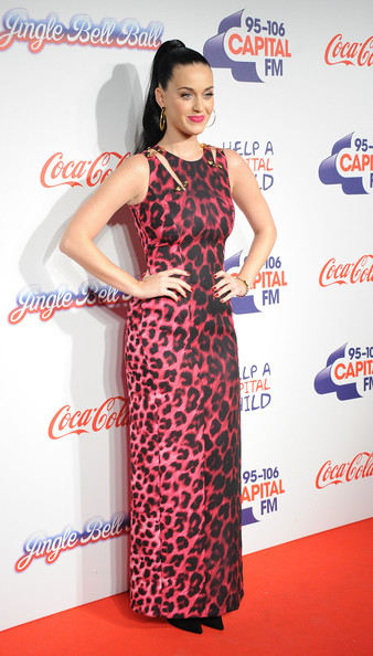 Katy Perry Print Dress [clothing,dress,red,shoulder,fashion model,carpet,hairstyle,flooring,neck,cocktail dress,katy perry,room,england,london,02 arena,capital fm,jingle bell ball]