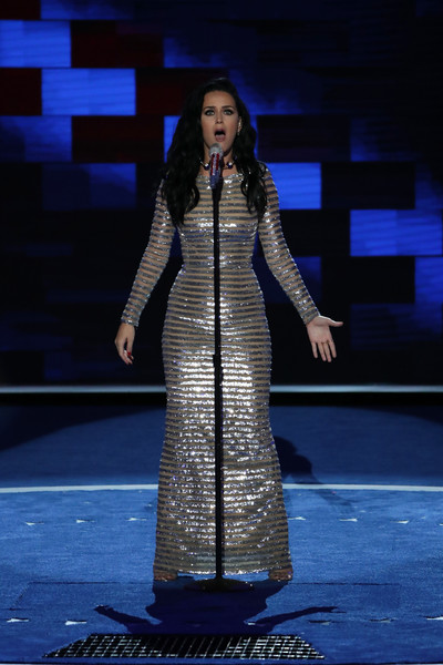 Katy Perry Sequin Dress [performance,fashion,performing arts,event,fashion design,stage,formal wear,talent show,performance art,dress,katy perry,hillary clinton,protesters,number,votes,nomination,media,philadelphia,party,democratic national convention: day four]