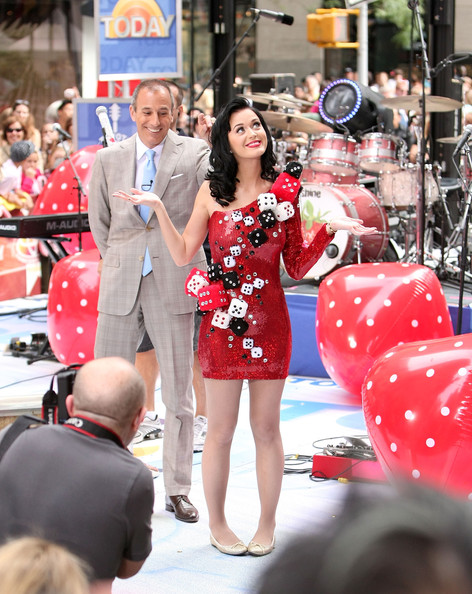 Katy Perry Ballet Flats [red,fashion,shoulder,dress,girl,product,katy perry,matt lauer,perry,new york city,rockefeller center,nbc,performance]