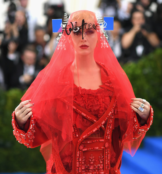 Katy Perry Diamond Ring [rei kawakubo/comme des garcons: art of the in-between,rei kawakubo/comme des garcons: art of the in-between,red,clothing,fashion,lady,pink,hairstyle,outerwear,lip,veil,shoulder,costume institute gala - arrivals,katy perry,new york city,metropolitan museum of art,costume institute gala]