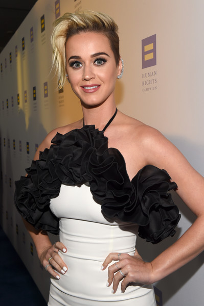 Katy Perry Diamond Ring [hair,clothing,shoulder,hairstyle,dress,beauty,blond,cocktail dress,fashion,lady,red carpet,human rights campaign,gala dinner,los angeles,jw marriott,california,l.a. live,katy perry]