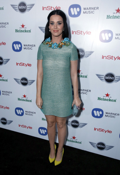 Katy Perry Pumps [clothing,cocktail dress,dress,red carpet,fashion,carpet,shoulder,footwear,fashion design,electric blue,mini,katy perry,california,los angeles,chateau marmont,warner music group 2013 grammy celebration]