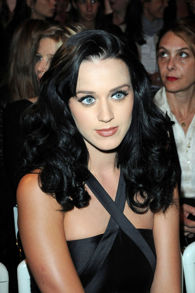 Katy Perry Long Curls [show,hair,hairstyle,eyebrow,lip,black hair,beauty,chin,shoulder,long hair,brown hair,jean-paul gaultier,katy perry,pret a porter,paris,france,paris fashion week,paris womenswear fashion week spring]