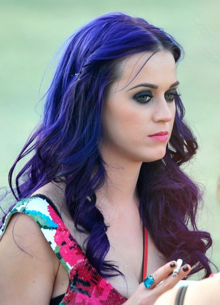 Katy Perry Long Wavy Cut [katy perry,hair,face,purple,hairstyle,hair coloring,beauty,black hair,lady,photo shoot,eyebrow,coachella music festival,music arts festival,coachella valley,indio,california,empire polo club]