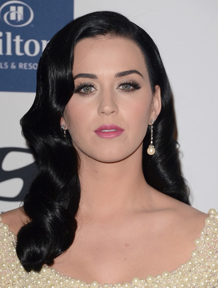 Katy Perry Retro Hairstyle [hair,face,eyebrow,lip,hairstyle,black hair,chin,skin,beauty,forehead,clive davis,katy perry,antonio ``l.a. reid,salute to industry icons,the beverly hilton hotel,beverly hills,california,the recording academy,antonio ``l.a. reid - arrivals,2013 pre-grammy gala and salute to industry icons]