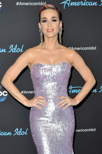 Katy Perry Pink Nail Polish [american idol,dress,clothing,shoulder,strapless dress,cocktail dress,beauty,fashion,hairstyle,joint,a-line,katy perry,arrivals,california,los angeles,abc,show]