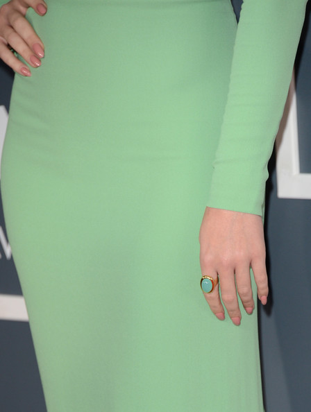 Katy Perry Pink Nail Polish [green,clothing,yellow,turquoise,aqua,standing,dress,arm,pencil skirt,outerwear,arrivals,katy perry,ring detail,california,los angeles,staples center,55th annual grammy awards]