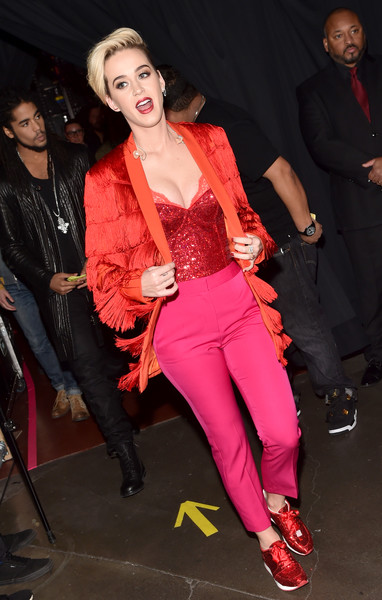 Katy Perry Blazer [fashion,event,pink,performance,leg,thigh,textile,fashion design,tights,style,katy perry,turner,iheartradio music awards,backstage,inglewood,california,tnt,tbs,trutv,the forum]