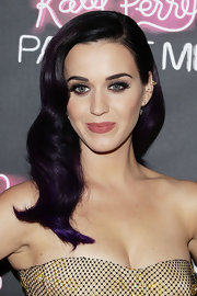 Katy Perry styled purple locks in retro waves witha deep side-part for her Australian premiere.