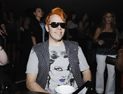 Wearing designer shield sunglasses and a vibrant hairdo, Perez Hilton looked hip at Katy Perry's concert.
