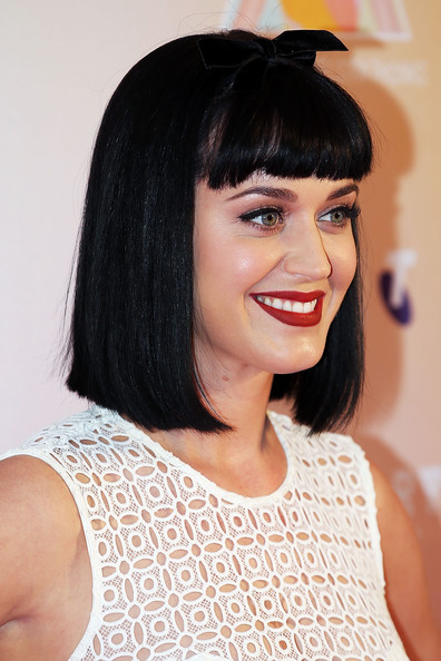 Katy Perry Short Cut With Bangs [hair,face,hairstyle,eyebrow,black hair,chin,lip,bangs,forehead,beauty,katy perry,media call,media,george street,sydney,australia,telstra hq]