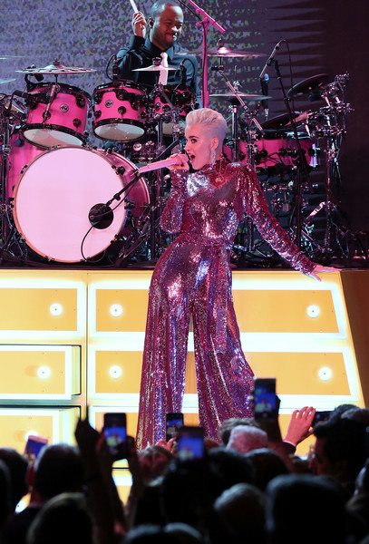 Katy Perry Jumpsuit [byron allen,katy perry,performance,entertainment,concert,stage,performing arts,pink,drums,drum,event,purple,oscar gala viewing party to support the childrens hospital los angeles,beverly wilshire four seasons hotel,beverly hills,california,the childrens hospital los angeles]