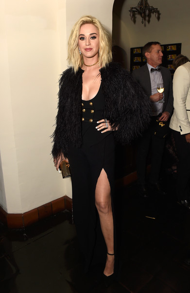 Katy Perry Jumpsuit [hair,human hair color,little black dress,flooring,lady,fashion,fashion model,outerwear,shoulder,formal wear,chance the rapper,katy perry,grammys,partnership,youtube,california,los angeles,chateau marmont,gq]