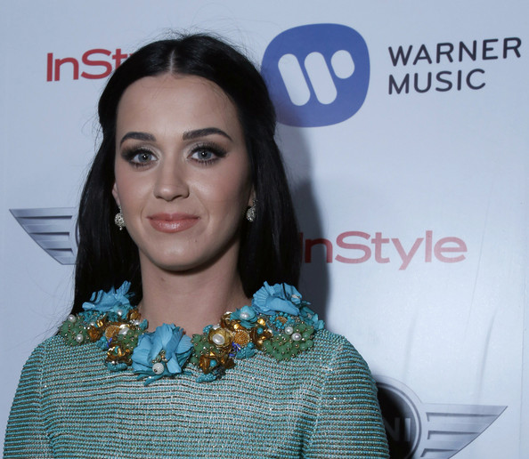 Katy Perry Half Up Half Down [hair,eyebrow,beauty,hairstyle,lip,fashion,smile,fashion accessory,premiere,long hair,mini,katy perry,california,los angeles,chateau marmont,warner music group 2013 grammy celebration]