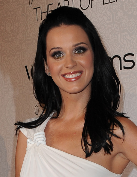 Katy Perry Half Up Half Down [hair,eyebrow,hairstyle,shoulder,chin,beauty,long hair,brown hair,lip,black hair,arrivals,katy perry,california,los angeles,beverly hills,event,annual art of elysium ``heaven gala,3rd annual art of elysium ``heaven gala event]