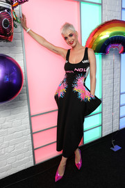 Katy Perry went playful with this graphic tank dress by Stella McCartney while visiting Kiss FM in London.