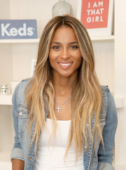 Ciara sported a subtly wavy, center-parted hairstyle while attending a Keds event.