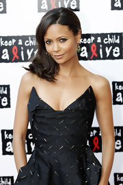Thandie looked fresh-faced and beautiful with barely-there makeup and a side-swept hairstyle.