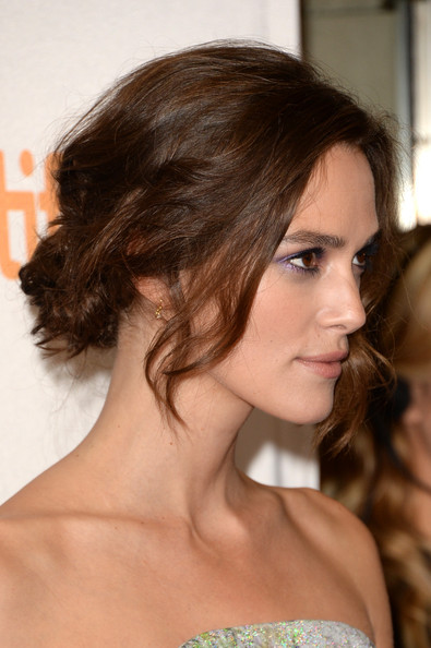 Keira Knightley Chignon [can a song save your life?,hair,hairstyle,face,chin,shoulder,brown hair,eyebrow,beauty,long hair,layered hair,keira knightley,toronto,canada,princess of wales theatre,toronto international film festival,premiere]