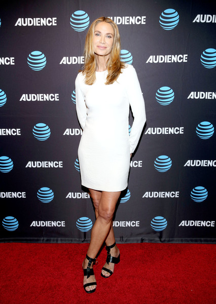 Kelly Lynch Mini Dress [clothing,carpet,red carpet,cocktail dress,dress,footwear,fashion,electric blue,premiere,flooring,mr.,kelly lynch,beverly hills,california,the beverly hilton hotel,at t,mercedes,audience network,audience network premiere,premiere]