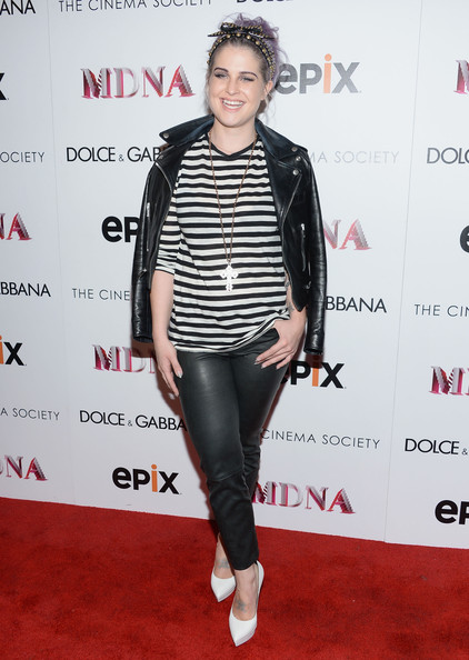 Kelly Osbourne Leather Jacket [clothing,footwear,fashion,carpet,outerwear,shoulder,joint,leather,premiere,performance,kelly osbourne,screening,the paris theatre,new york city,dolce gabbana and the cinema society present the epix world premiere,the cinema society,epix world,madonna: the mdna tour,premiere]