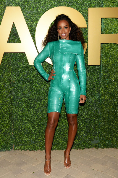 Kelly Rowland Romper [clothing,green,spandex,leg,footwear,textile,wetsuit,thigh,dress,shoe,macro pre-oscar party,casita hollywood,los angeles,california,kelly rowland]