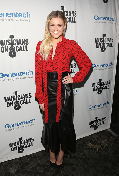 Kelsea Ballerini Long Skirt [clothing,red,outerwear,premiere,dress,event,jacket,carpet,street fashion,style,kelsea ballerini,the healing power of music,los angeles,california,musicians on call celebrates 5th anniversary,musicians on call 5th anniversary celebration]