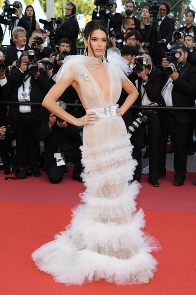 Kendall Jenner Sheer Dress [girls of the sun,red carpet arrivals - the 71st annual cannes film festival,gown,fashion model,flooring,carpet,dress,fashion,red carpet,haute couture,shoulder,girl,may 12,nudity,image,screening,palais des festivals,cannes,france,cannes film festival]
