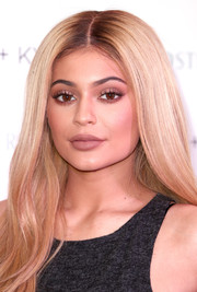 Kylie Jenner perfected her pout with a matte brown lip.