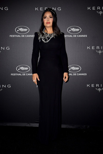 More Pics of Salma Hayek Beaded Dress (1 of 11) - Salma Hayek Lookbook - StyleBistro