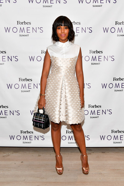 Kerry Washington Shirtdress [white,fashion model,flooring,catwalk,shoulder,dress,fashion,cocktail dress,joint,carpet,kerry washington,new york city,spring studios,forbes womens summit,kerry washington,spring studios,scandal,forbes,woman,actor,fashion]