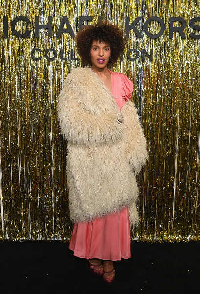 Kerry Washington Platform Sandals [fur,fur clothing,clothing,lady,fashion,outerwear,textile,fashion design,beige,costume,michael kors collection fall 2019 runway show,backstage,new york city,cipriani wall street,kerry washington]