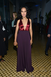 Kerry Washington looked ravishing at the GLAAD Media Awards in a burgundy and purple Hellessy gown with a navel-grazing plunge.