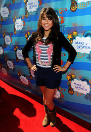 Daniella Monet showed some leg with a pair of silk shorts at the Make-A-Wish Foundation event.