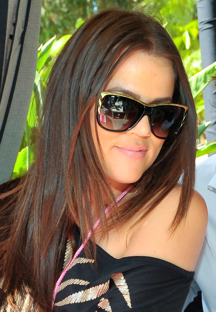830bf55c345a Khloe Kardashian · These oversized sunglasses have a nice gold accent  around the rim which give the shades a