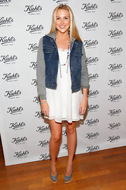 Stephanie Pratt chose a flowing white mini dress to top off her look at the Kiehl's event in Santa Monica.