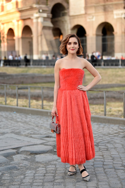Kiernan Shipka Studded Heels [clothing,dress,shoulder,fashion model,cocktail dress,strapless dress,red,fashion,waist,lady,kiernan shipka,cocktail,rome,italy,fendi couture fall winter 2019]