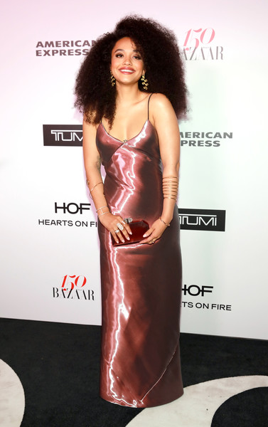 Kiersey Clemons Hard Case Clutch [clothing,dress,fashion model,shoulder,carpet,fashion,hairstyle,red carpet,cocktail dress,flooring,women,kiersey clemons,harper,partnership,sunset tower,harpers bazaar celebrates 150 most fashionable women,bazaar,tumi,american express,celebration]