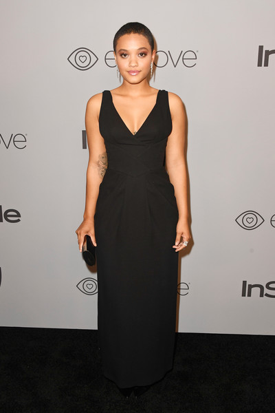 Kiersey Clemons Evening Dress [dress,clothing,cocktail dress,little black dress,fashion,carpet,hairstyle,fashion model,shoulder,premiere,arrivals,kiersey clemons,beverly hills,california,the beverly hilton hotel,warner bros. pictures,instyle host,post-golden globes party]