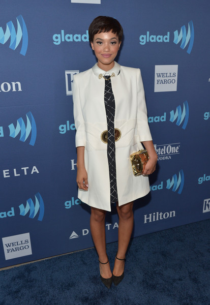 Kiersey Clemons Evening Coat [clothing,suit,fashion,carpet,outerwear,formal wear,footwear,event,premiere,fashion design,kiersey clemons,glaad media awards,beverly hills,california,the beverly hilton hotel,red carpet]