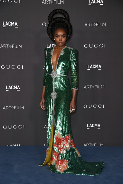 Kiki Layne Sequin Dress [clothing,formal wear,dress,hairstyle,fashion,fashion design,sari,gown,carpet,fashion model,arrivals,kiki layne,gucci arrivals,los angeles,california,gucci,lacma art film gala,lacma 2019 art film gala,kiki layne,los angeles county museum of art,art,if beale street could talk,hollywood,art museum,museum,red carpet]
