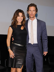 A black leather pencil skirt added a touch of edginess to Gina Gershon's look during the 'Killer Joe' special screening.
