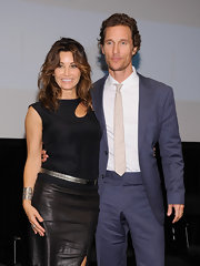 Gina Gershon paired a sleeveless black cutout top with a leather skirt for a fierce look during the 'Killer Joe' special screening.