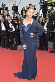 Jasmine Sanders chose a navy Ulyana Sergeenko Couture corset gown with a layered bodice for the Cannes Film Festival premiere of 'The Killing of a Sacred Deer.'