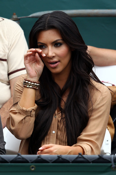Kim Kardashian looks on from the stands during day six of the 2010 Sony