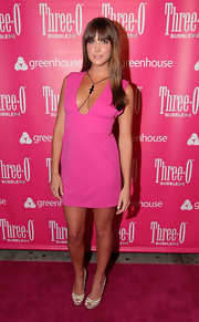 Erin was hot in pink at the Vodka flavor launch party.
