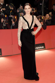Juliette Binoche chose a two-tone Giorgio Armani column dress with a beaded bodice and a velvet skirt for the Berlinale premiere of 'The Kindness of Strangers.'
