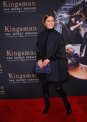 Olivia Palermo was winter-chic in a navy swing coat at the 'Kingsman: The Secret Service' premiere.