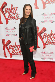 Brooke Shield looked cool and edgy in this black leather jacket, which was totally appropriate for the premiere of 'Kinky Boots' on Broadway.